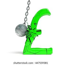 wrecking ball destroying a huge green pound sign (3d illustration)