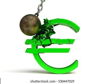 wrecking ball destroying a huge shiny green Euro sign (3d illustration)