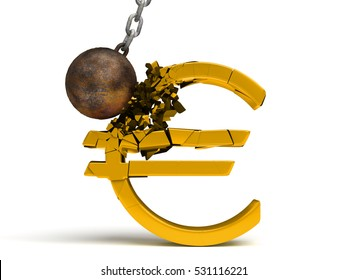 wrecking ball destroying a huge shiny golden Euro sign (3d illustration)