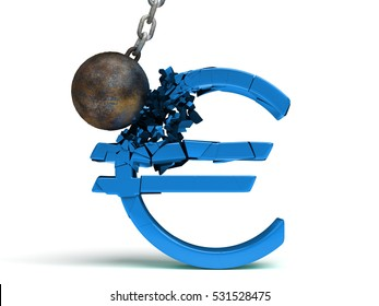 wrecking ball destroying a huge shiny blue Euro sign (3d illustration)