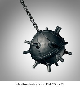 Wrecking ball explosive mine concept as a dangerous demolishing bomb device object concept as a 3D render.