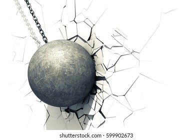 Wrecking Ball Shattering The White Wall. 3D Illustration.