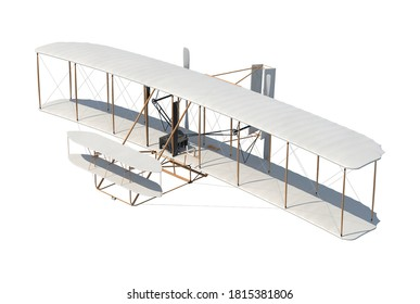 Wright Flyer 3D illustration on white background