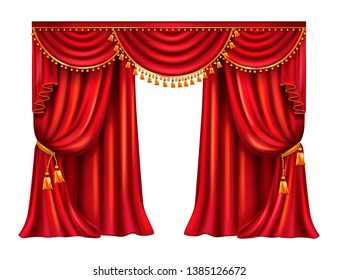 Wrinkled red curtain with lambrequin decorated golden tassels realistic isolated on white background. Heavy window dressing in Victorian style gathered from side with tie. Theater stage drapery