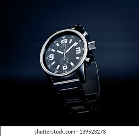 wrist watch isolated on a dark background