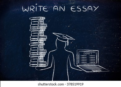 Write an essay: graduate students holding a big stack of books and laptop with dissertation draft