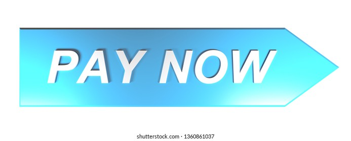 The write PAY NOW in white letters on a blue arrow pointing to the right, on white background - 3D rendering illustration