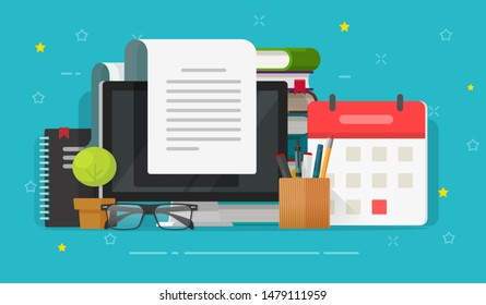 Writing content or essay on computer or reading article illustration, flat cartoon working desk with books, letter document or journal on screen, idea of author or writer table or workplace image