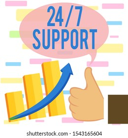 Writing note showing 24 Or 7 Support. Business photo showcasing Giving assistance to service whole day and night No downtime Thumb Up Good Performance Success Escalating Bar Graph Ascending Arrow.