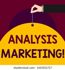 Writing note showing Analysis Marketing. Business photo showcasing Quantitative and qualitative assessment of a market Man hand hold big paper tie string thumb and index finger.
