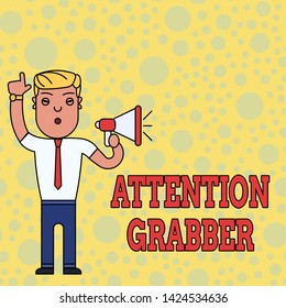 Writing note showing Attention Grabber. Business photo showcasing Deanalysisding notice mainly by being prominent or outlandish Man Standing with Raised Right Index Finger and Speaking into Megaphone.