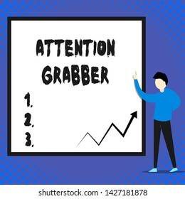 Writing note showing Attention Grabber. Business photo showcasing Deanalysisding notice mainly by being prominent or outlandish Man standing pointing up blank rectangle Geometric background.