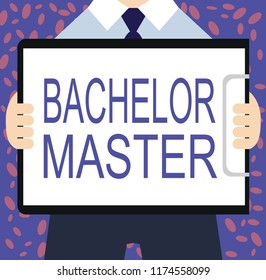 Writing note showing Bachelor Master. Business photo showcasing An advanced degree completed after bachelor's degree