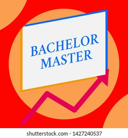 Writing note showing Bachelor Master. Business photo showcasing An advanced degree completed after bachelor s is degree One blank rectangle above another arrow zigzag upwards increasing sale.