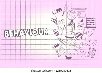 Writing note showing Behaviour. Business photo showcasing way in which one acts conducts oneself especially towards others School Supplies icon Educational Materials on Halfside with Text Space.