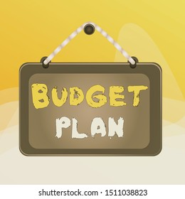 Writing note showing Budget Plan. Business photo showcasing financial schedule for a defined period of time usually year Board fixed nail frame colored background rectangle panel.