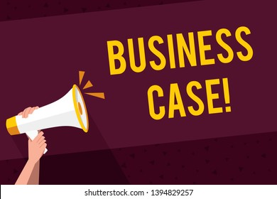 Writing note showing Business Case. Business photo showcasing provides justification for undertaking a project or program Human Hand Holding Megaphone with Sound Icon and Text Space.