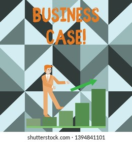 Writing note showing Business Case. Business photo showcasing provides justification for undertaking a project or program Smiling Businessman Climbing Bar Chart Following an Arrow Up.