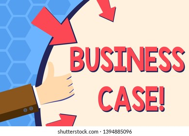 Writing note showing Business Case. Business photo showcasing provides justification for undertaking a project or program Hand Gesturing Thumbs Up Holding on Round Shape with Arrows.