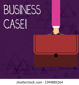Writing note showing Business Case. Business photo showcasing provides justification for undertaking a project or program Businessman Carrying Colorful Briefcase Portfolio Applique.