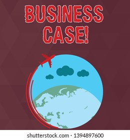 Writing note showing Business Case. Business photo showcasing provides justification for undertaking a project or program Airplane Flying Around Colorful Globe and Blank Text Space.
