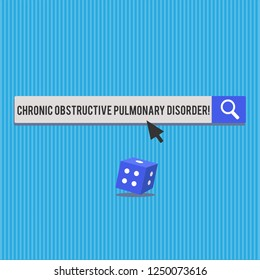 Writing note showing Chronic Obstructive Pulmonary Disorder. Business photo showcasing Disease medical treatment required 3D Dice with shadow and Arrow Pointing on halftone Button.