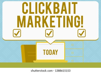 Writing note showing Clickbait Marketing. Business photo showcasing Online content that aim to generate page views Blank Huge Speech Bubble Pointing to the White Laptop Screen.