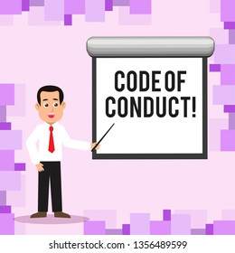 Writing note showing Code Of Conduct. Business photo showcasing Follow principles and standards for business integrity Man in Necktie Holding Stick Pointing White Screen on Wall.