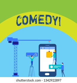 Writing note showing Comedy. Business photo showcasing Fun Humor Satire Sitcom Hilarity Joking Entertainment Laughing Staff Working Together for Common Target Goal with SEO Process Icons.