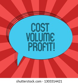 Writing note showing Cost Volume Profit. Business photo showcasing form of cost accounting and It is simplified model Oval Outlined Solid Color Speech Bubble Empty Text Balloon.
