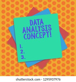 Writing note showing Data Analysis Concept. Business photo showcasing evaluating data using analytical and logical reasoning Multiple Layer of Sheets Color Paper Cardboard with Shadow.