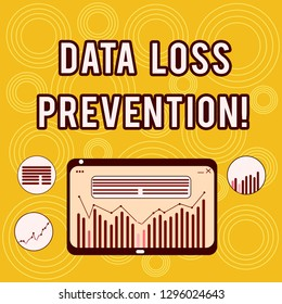 Writing note showing Data Loss Prevention. Business photo showcasing Software that detects potential data breaches Digital Combination of Column Line Data Graphic Chart on Tablet Screen.