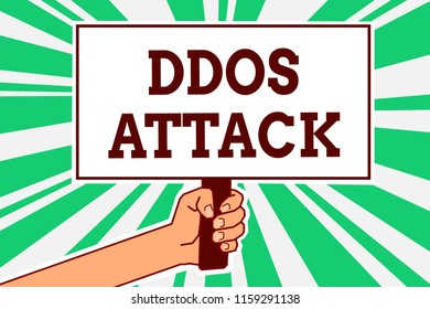 Writing note showing Ddos Attack. Business photo showcasing perpetrator seeks to make network resource unavailable Man hand holding poster important protest message green ray background.