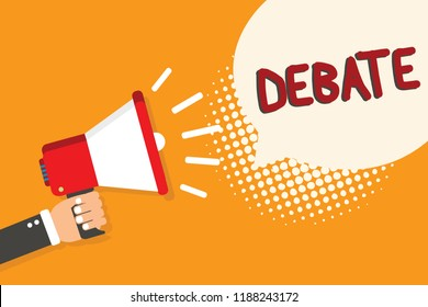 Writing note showing Debate. Business photo showcasing formal discussion on particular in meeting or legislative assembly Man holding megaphone loudspeaker bubble orange background halftone.
