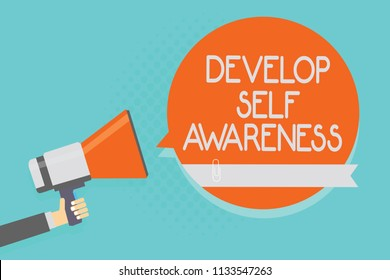 Writing note showing Develop Self Awareness. Business photo showcasing increase conscious knowledge of own character Attention warning hot social issue announcement declare recall notice.