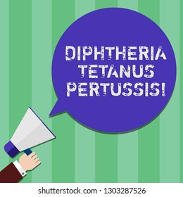 Writing note showing Diphtheria Tetanus Pertussis. Business photo showcasing vaccines against three infectious diseases Hu analysis Hand Holding Megaphone Color Speech Bubble.