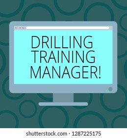 Writing note showing Drilling Training Manager. Business photo showcasing Give the staff the understanding drilling process Blank Computer Desktop Monitor Color Screen Mounted with Progress Bar.