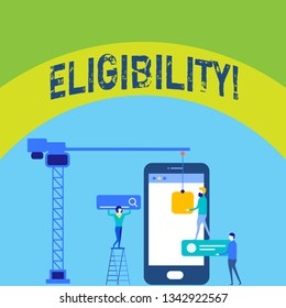 Writing note showing Eligibility. Business photo showcasing State of having the right for doing or obtain something Proper Staff Working Together for Common Target Goal with SEO Process Icons.