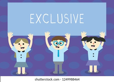 Writing note showing Exclusive. Business photo showcasing restricted to the demonstrating group or area concerned for sometime School Kids with Arms Raising up are Singing Smiling Talking.