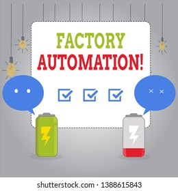 Writing note showing Factory Automation. Business photo showcasing automatic operation and control of machinery or processes Fully Charge and Discharge Battery with Emoji Speech Bubble.