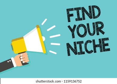 Writing note showing Find Your Niche. Business photo showcasing Market study seeking specific potential clients Marketing Man holding megaphone loudspeaker blue background message speaking.
