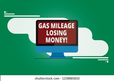 Writing note showing Gas Mileage Losing Money. Business photo showcasing Long road high gas fuel costs financial losses Mounted Computer Monitor Blank Reflected Screen on Abstract Background.