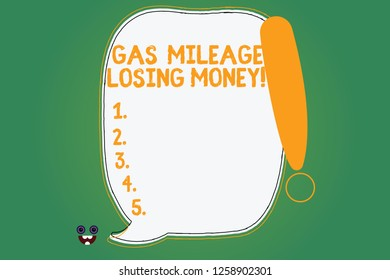 Writing note showing Gas Mileage Losing Money. Business photo showcasing Long road high gas fuel costs financial losses Blank Color Speech Bubble Outlined with Exclamation Point.