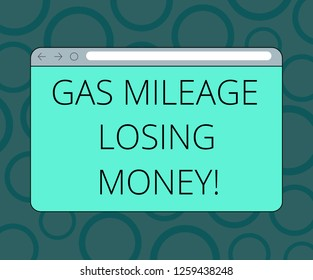 Writing note showing Gas Mileage Losing Money. Business photo showcasing Long road high gas fuel costs financial losses Monitor Screen with Progress Control Bar Blank Text Space.