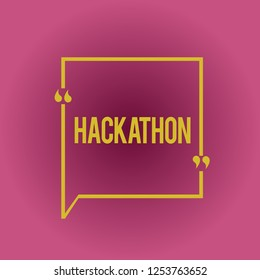 Writing note showing Hackathon. Business photo showcasing event where large number of showing engage in programming