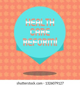 Writing note showing Health Care Reform. Business photo showcasing general rubric used for discussing major Medical policy Blank Color Circle Floating photo with Shadow and Design at the Edge.