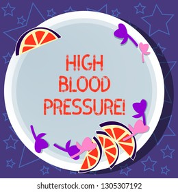 Writing note showing High Blood Pressure. Business photo showcasing force pushing against walls of your blood vessels Cutouts of Sliced Lime Wedge and Herb Leaves on Color Plate.