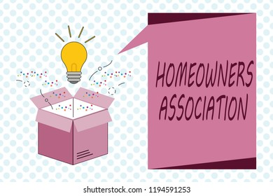 Writing note showing Homeowners Association. Business photo showcasing Organization with fee for upkeeps of Gated Community
