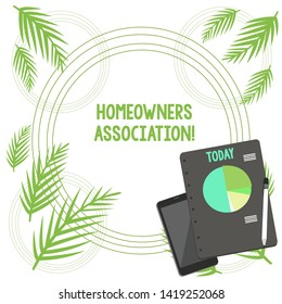 Writing note showing Homeowners Association. Business photo showcasing Organization with fee for upkeeps of Gated Community Layout Smartphone Off Ballpoint Notepad Business Pie Chart.