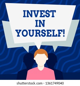 Writing note showing Invest In Yourself. Business photo showcasing learn new things or materials thus making your lot better Faceless Man has Two Shadows with Speech Bubble Overlapping.